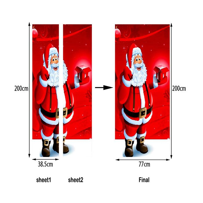 Christmas Santa with Gift Pattern Door Art Stickers
