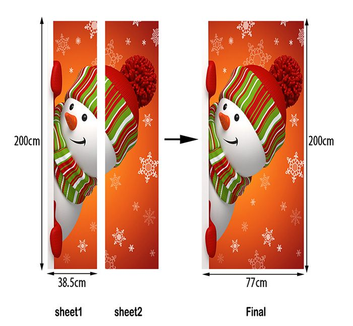 Christmas Hatted Snowman Pattern Door Art Stickers