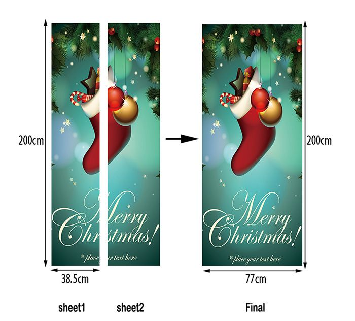 Christmas Sock Pattern Door Art Stickers