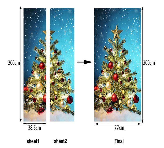 Christmas Tree Balls Pattern Door Art Stickers