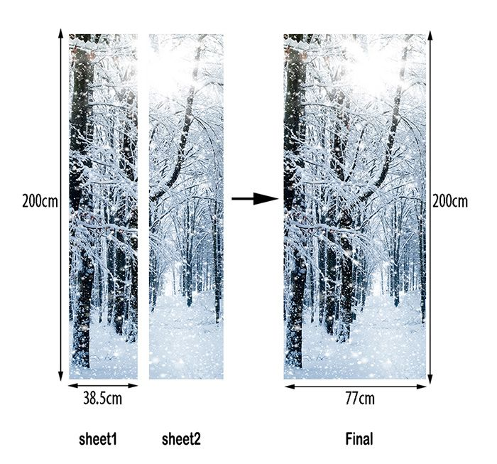 Snowy Forest Pattern Door Art Stickers