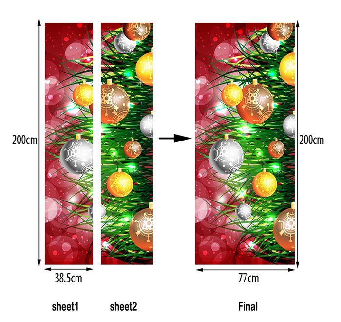 Christmas Plant Baubles Pattern Door Art Stickers