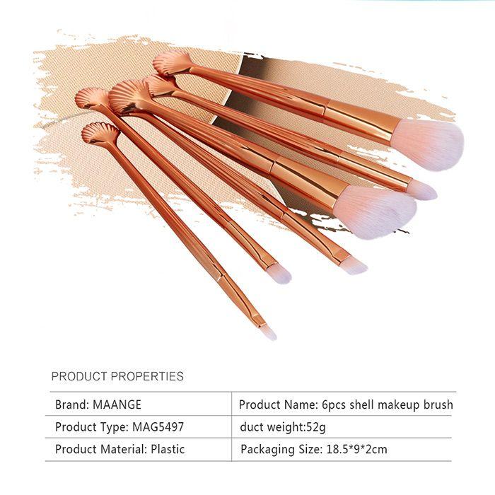 6 Pcs Seashell Makeup Brush Set