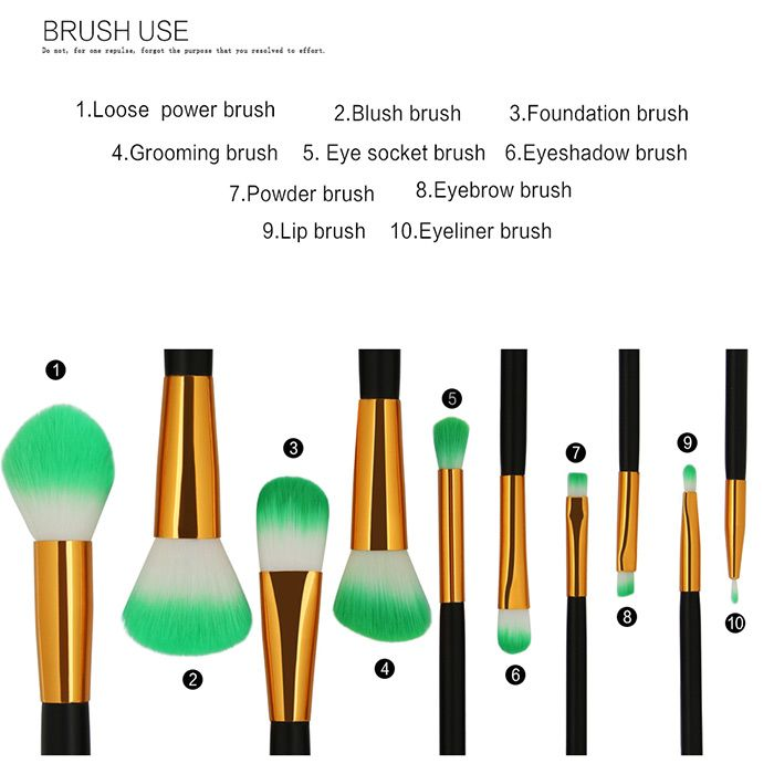 Two Tones Bristles Makeup Brush Set 10Pcs