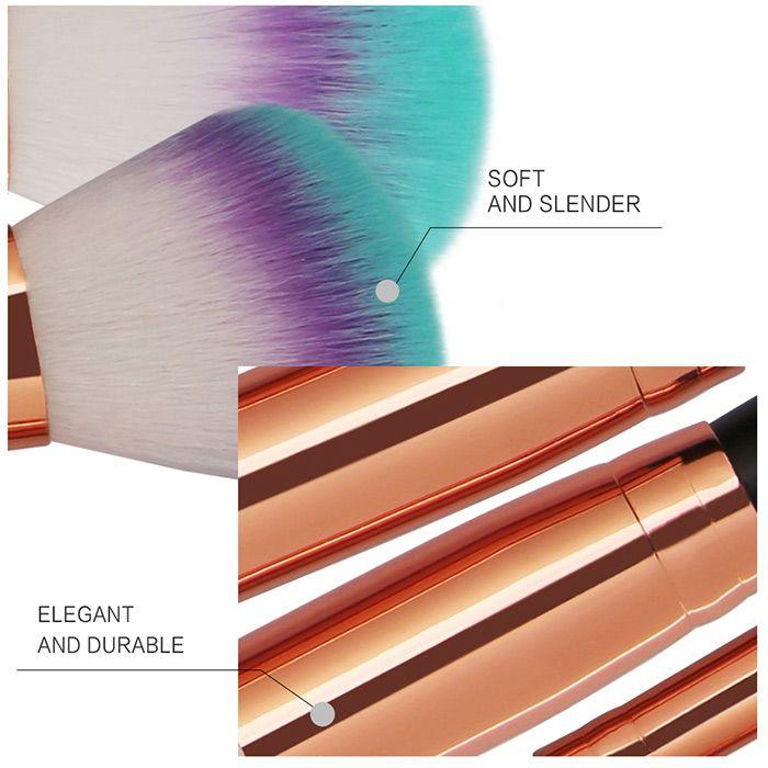 Three Tones Bristles Makeup Brush Set 8Pcs