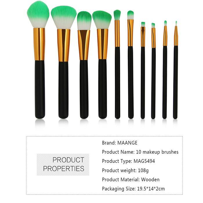 Two Tones Bristles Makeup Brush Set 10Pcs