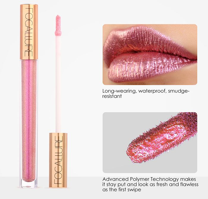 Long Wearing Waterproof Glitter Moisturizing Lip Gloss