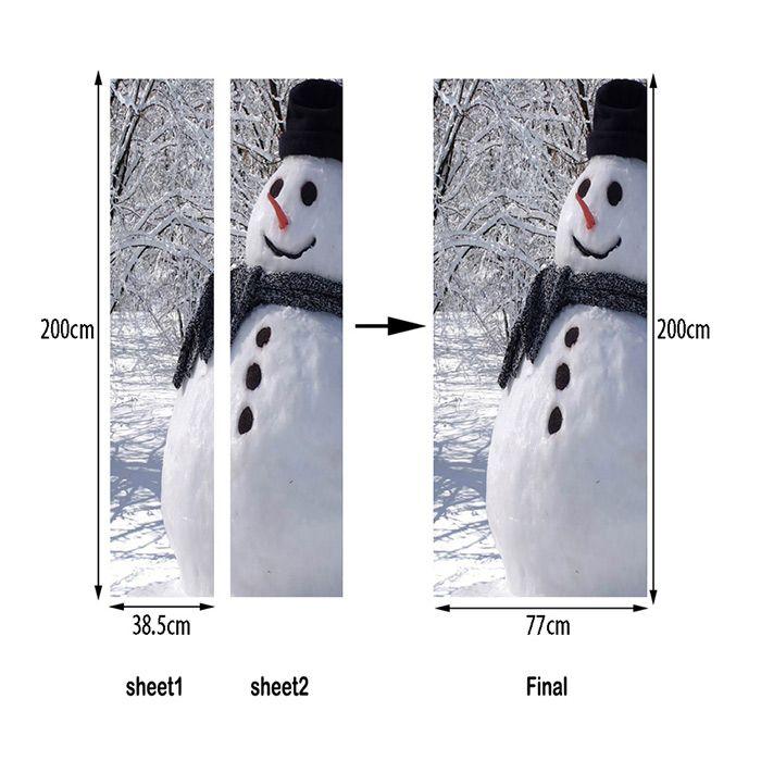 Christmas Forest Snowman Pattern Door Art Stickers