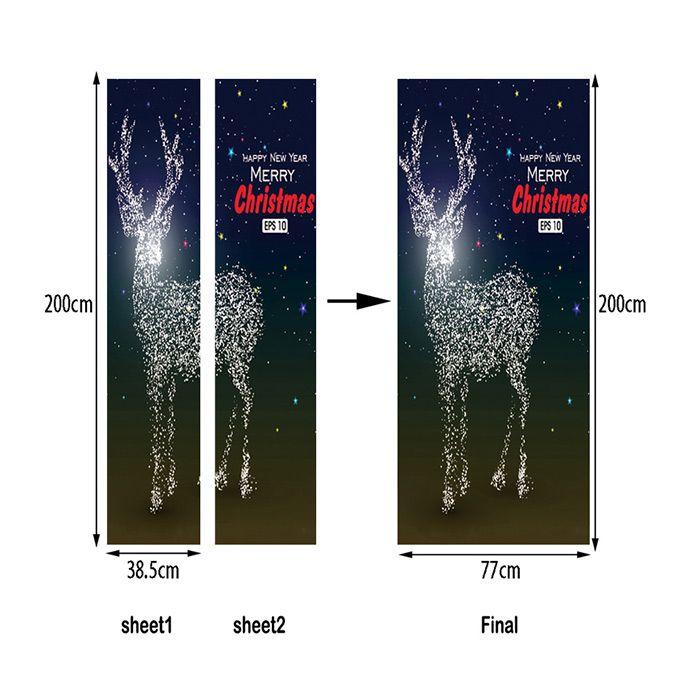 Sparkly Christmas Deer Pattern Door Art Stickers