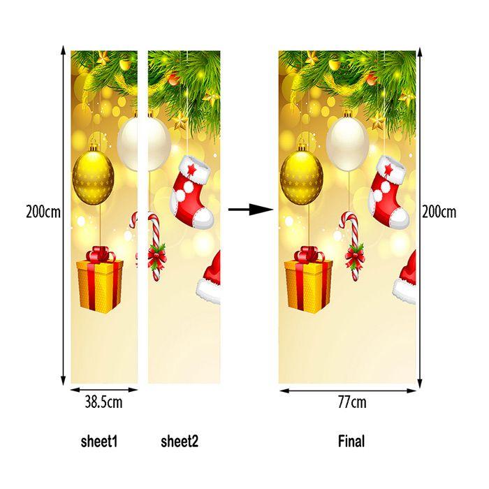 Christmas Tree Ornaments Pattern Door Art Stickers