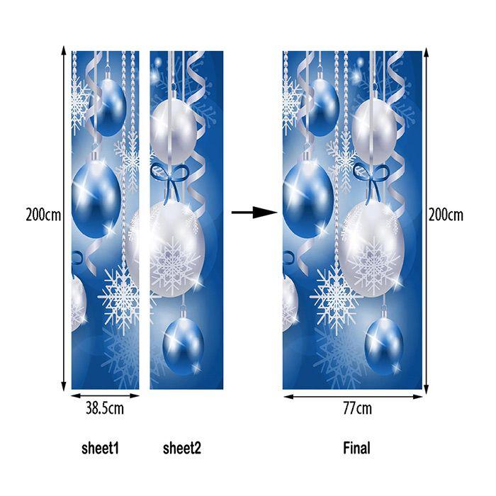 Christmas Baubles Snowflakes Pattern Door Art Stickers