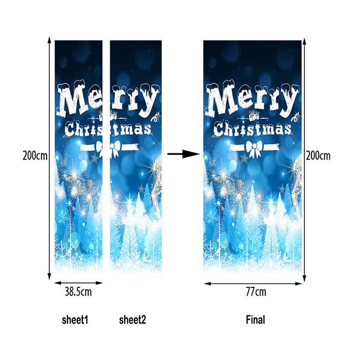 Merry Christmas Greeting Pattern Door Art Stickers