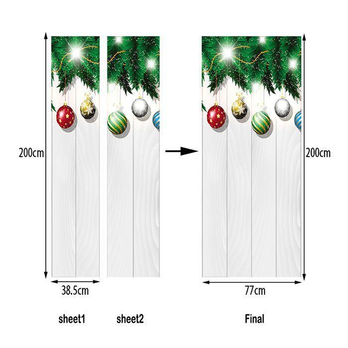 Christmas Baubles Woodgrain Pattern Door Art Stickers