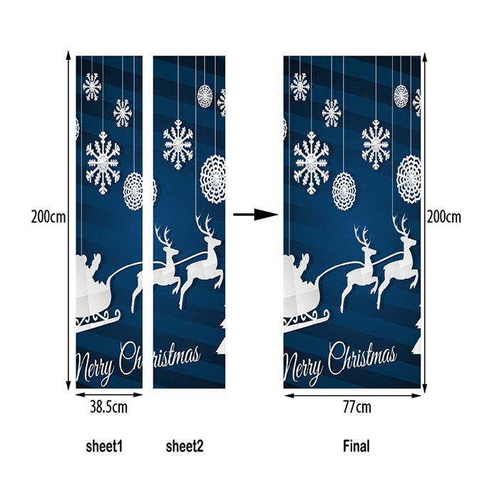 Christmas Deer Snowflake Pattern Door Art Stickers