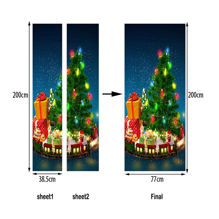 Christmas Tree with Gifts Pattern Door Art Stickers