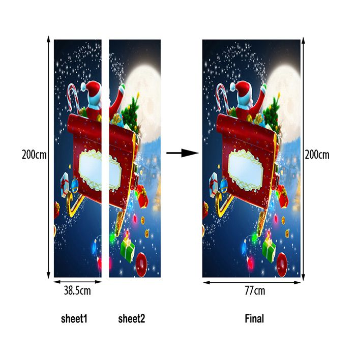 Christmas Santa with Gifts Pattern Door Cover Decals