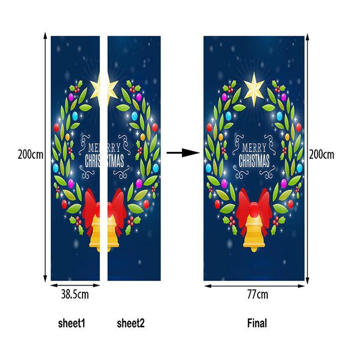 Christmas Wreath Bell Pattern Door Art Stickers