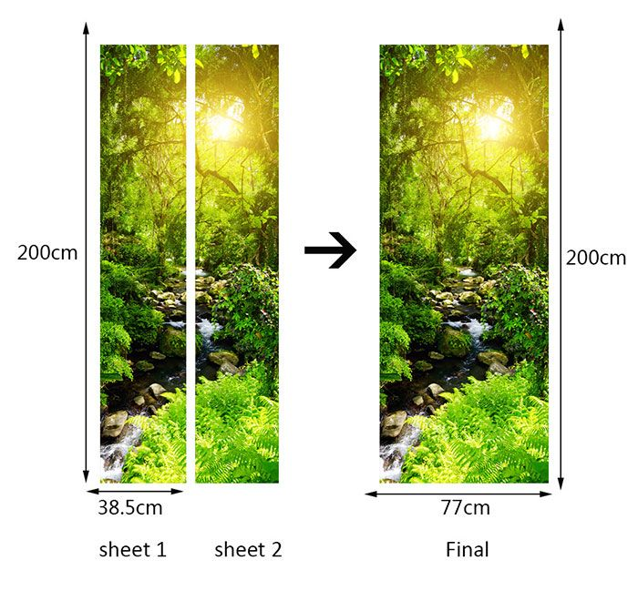 Forest Stream Printed Environmental Removable Door Stickers