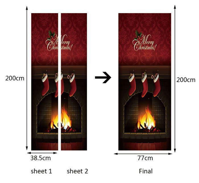 Christmas Fireplace Printed Environmental Removable Door Stickers