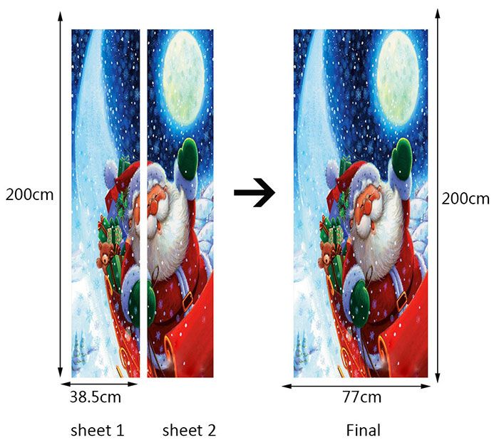 Santa Claus with Moon Pattern Environmental Removable Door Stickers