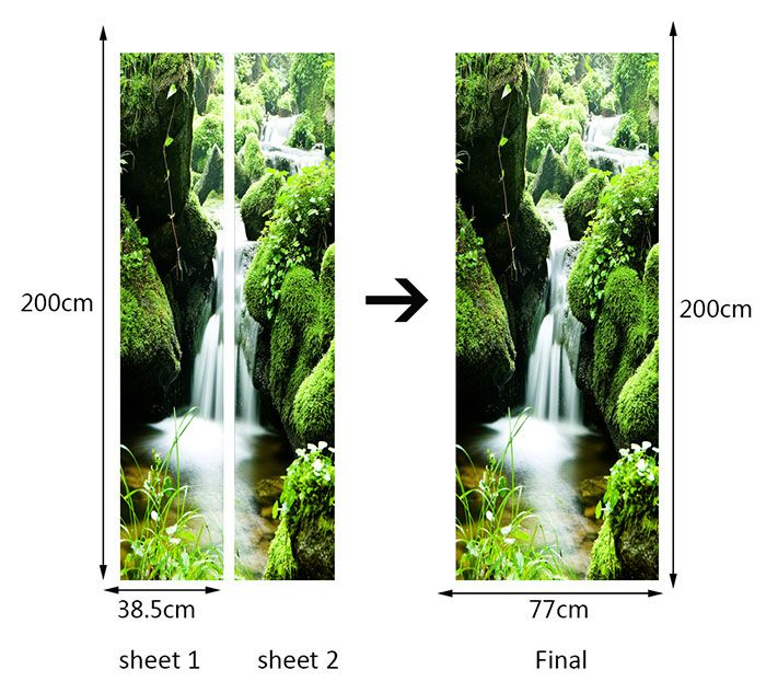Mountain Waterfall Printed Environmental Removable Door Stickers