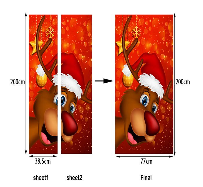 Christmas Deer with Hat Pattern Door Art Stickers