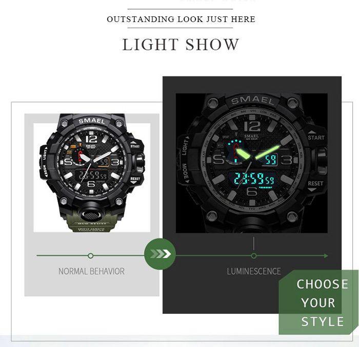 Multifuctional Luminous Quartz Digital Sport Military Watch