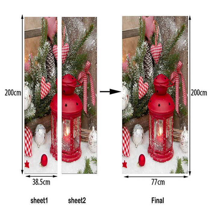 Christmas Candle Lantern Pattern Door Art Stickers