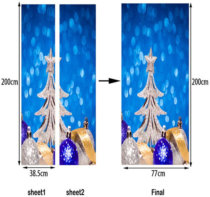 Christmas Tree and Balls Pattern Decorative Door Stickers