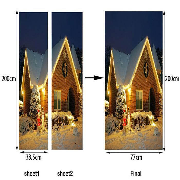 Snow Night Christmas Cottage Pattern Door Stickers