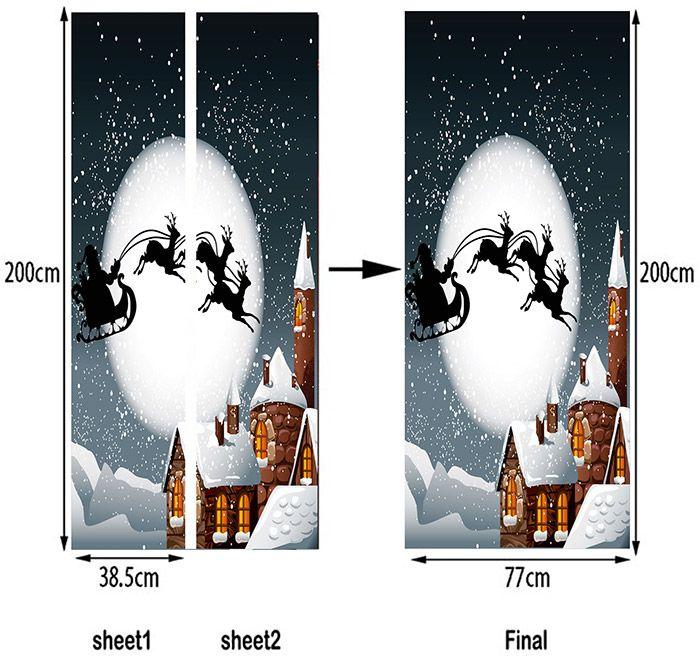 Santa Sleigh Moon Night Pattern Christmas Door Stickers