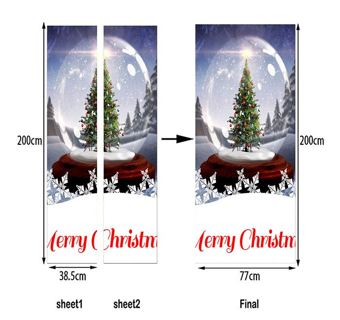 Crystal Ball Christmas Tree Printed Door Stickers