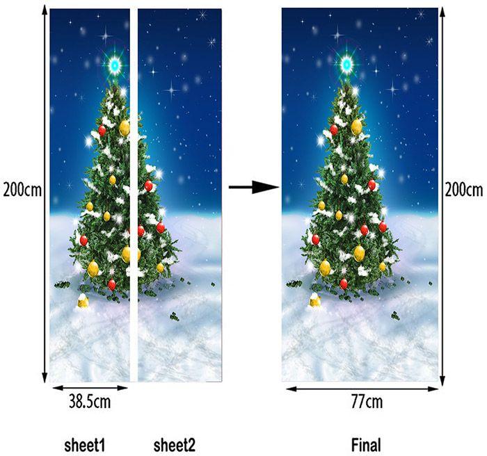 Snowfield Christmas Tree Pattern Decorative Door Stickers