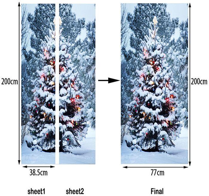 Full Snow Christmas Tree Patterned Door Art Stickers