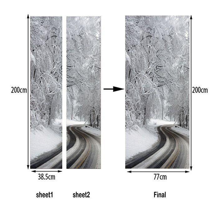 Winter Road Pattern Door Decor Stickers