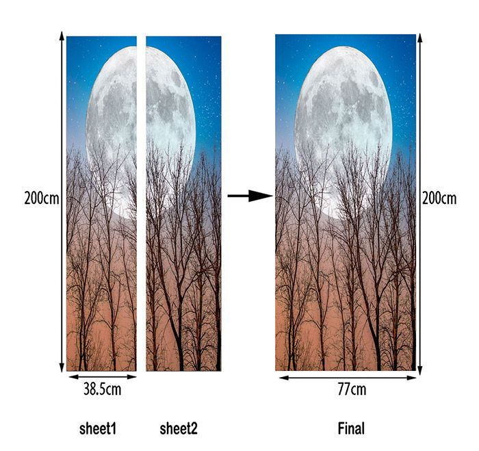 Round Moon and Tree Pattern Door Decor Stickers