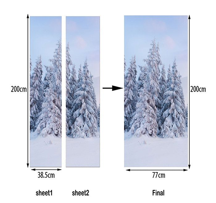 Snowscape Pattern Door Art Stickers