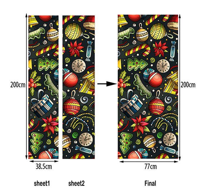 Christmas Elements Pattern Home Decor Door Art Stickers