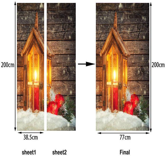 Wood Grain Christmas Candle Lamp Pattern Door Stickers