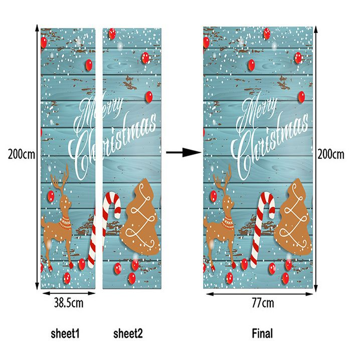 Wood Grain Christmas Tree Candy Cane Deer Pattern Door Stickers