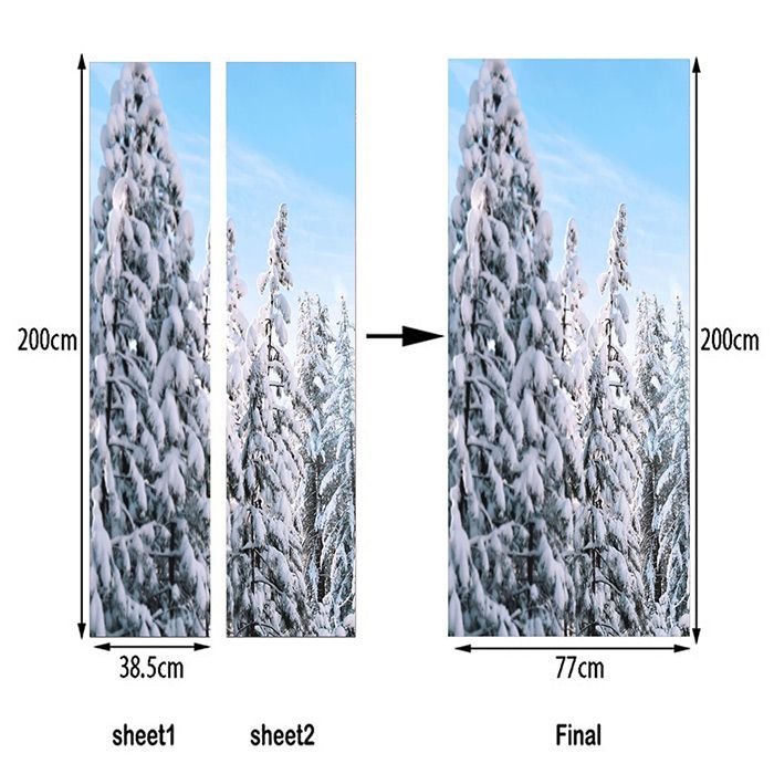 Snow Tree Pattern Decorative Door Stickers