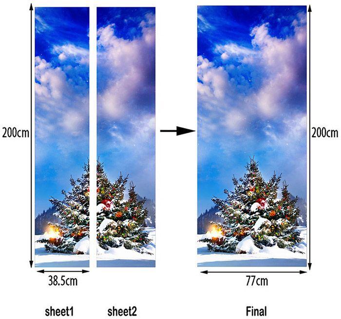 Outdoor Christmas Tree Pattern Decorative Door Stickers