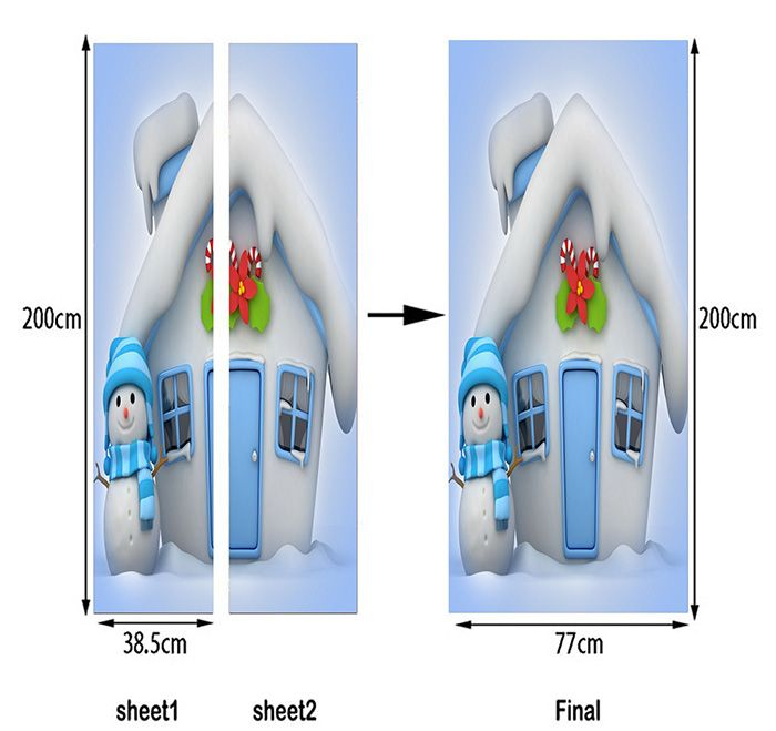 Christmas Cottage and Snowman Pattern Door Stickers