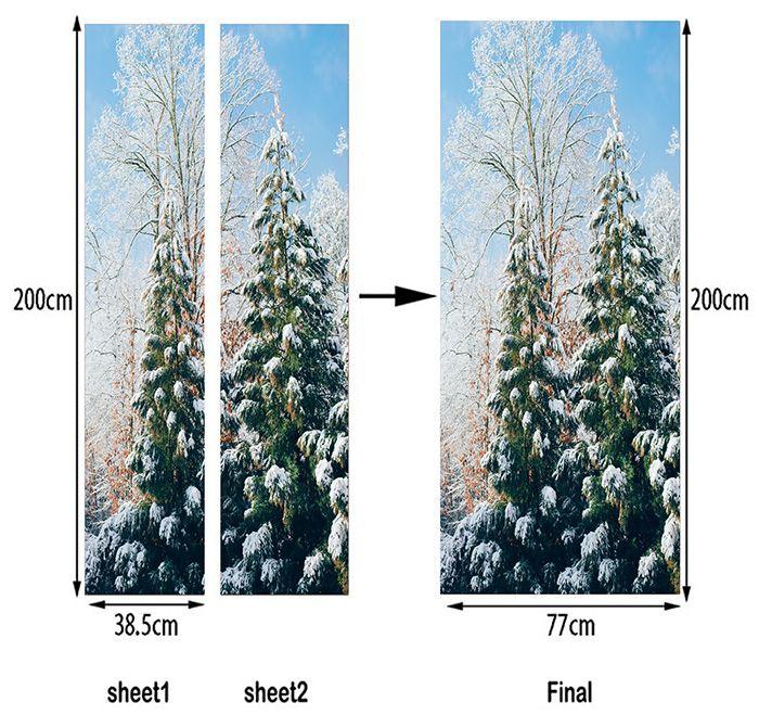Snow Tree Pattern Door Cover Stickers