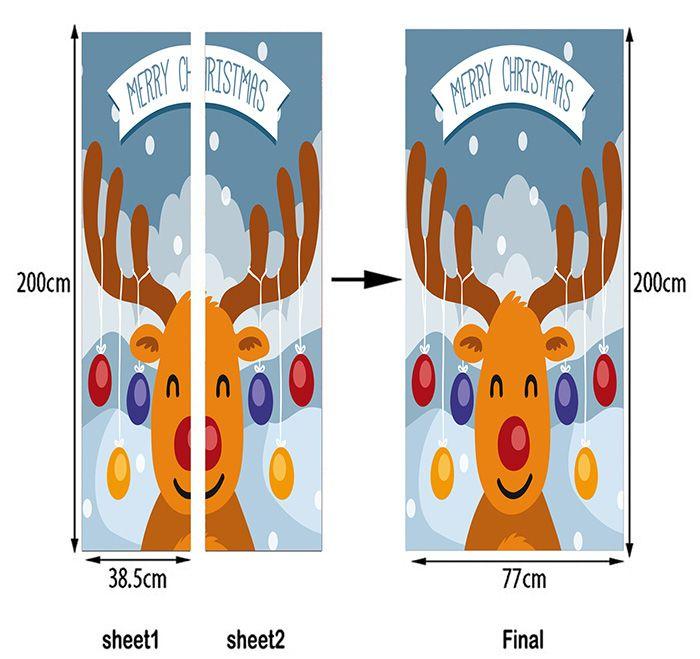 Christmas Cartoon Deer Pattern Decorative Door Stickers