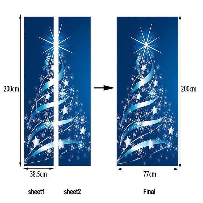Christmas Stars Tree Pattern Door Art Stickers
