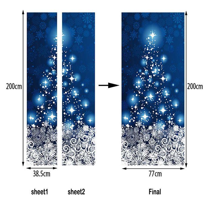 Christmas Snowflakes Star Pattern Door Art Stickers