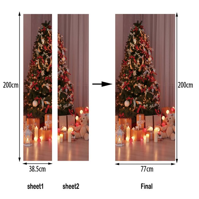 Christmas Tree Presents Pattern Door Art Stickers