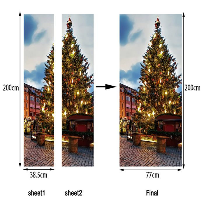 Christmas Pine Tree Pattern Door Art Stickers