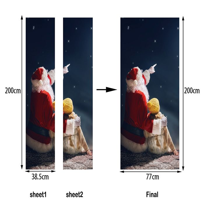 Christmas Santa Girl Pattern Door Art Stickers